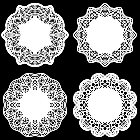 decorate element: Set of design elements, lace round paper doily, doily to decorate the cake,  festive doily,  doily - a template for cutting,greeting element package, vector illustrations Illustration