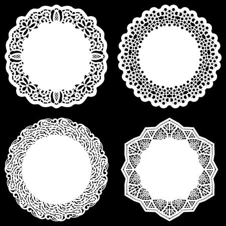 Set di elementi di design, merletto rotondo carta centrino, centrino per decorare la torta, modello per il taglio, elemento saluto, illustrazioni vettoriali
