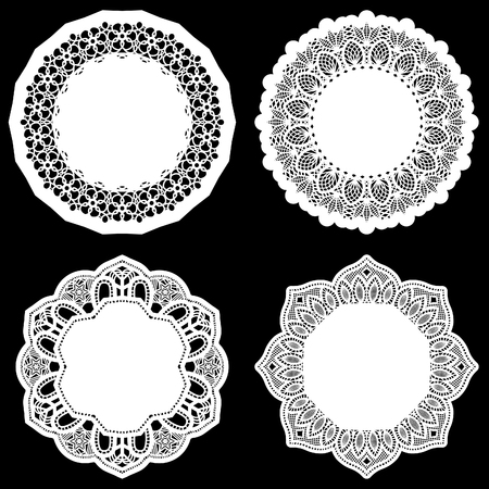 Set of design elements, lace round paper doily, doily to decorate the cake, template for cutting, greeting element, vector illustrations