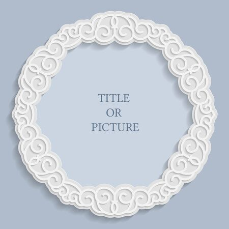 Vector round label, vintage frame for an inscription, calligraphic ornament, template to cut paper , 3D effect.