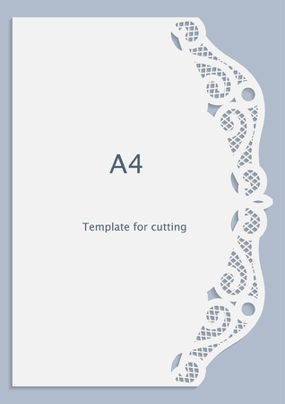 perforation: A4 paper lace greeting card, white pattern, cut-out template,  template congratulation, perforation pattern,  vector