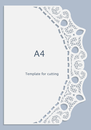 A4 paper lace greeting card, white pattern, cut-out template, template congratulation, perforation pattern, vector 矢量图片