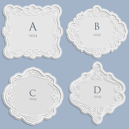 Set vector label, vintage frame for an inscription, calligraphic ornament, template to cut paper, space for images or lettering, 3D effect.