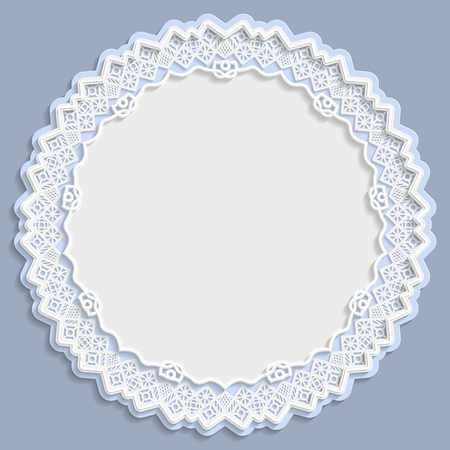 paper punch: 3D round frame, vignette with ornaments, lace frame,  bas-relief ornament,  festive pattern, white pattern, template greetings, vector Illustration
