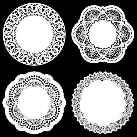 decorate element: Set of design elements, lace round paper doily, doily to decorate the cake, template for cutting, greeting element, vector illustrations