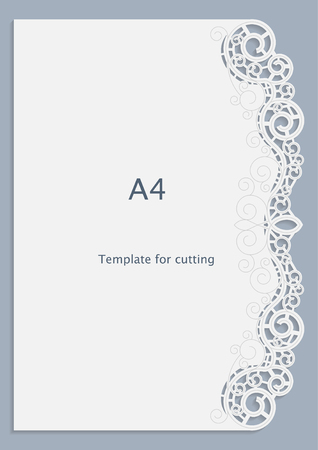 A4 paper lace greeting card, white pattern, cut-out template,  template congratulation, perforation pattern,  vector