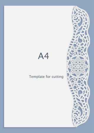 A4 papier dentelle carte de voeux, motif blanc, modèle découpé, modèle congratulation, motif de perforation, vecteur