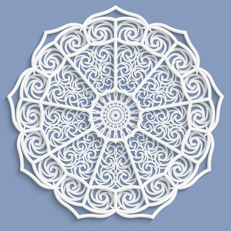 lace doily: Lace 3D mandala, decorative flower,   lace doily, decorative  snowflake,  lace pattern, arabic ornament, indian ornament, embossed pattern, vector