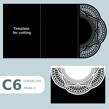 C6 paper openwork greeting card, template for cutting, lace invitation,  card with fold lines,  object isolated background, vector illustration Illustration