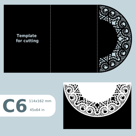 C6 paper openwork greeting card, template for cutting, lace invitation,  card with fold lines,  object isolated background, vector illustration Çizim