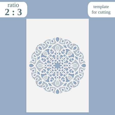 wood carving: Paper openwork greeting card, template for cutting, lace invitation,  lasercut metal panel, wood carving,  vector illustration Illustration