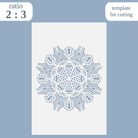 pasteboard: Paper openwork greeting card, template for cutting, lace invitation,  lasercut metal panel, wood carving,  vector illustration Illustration