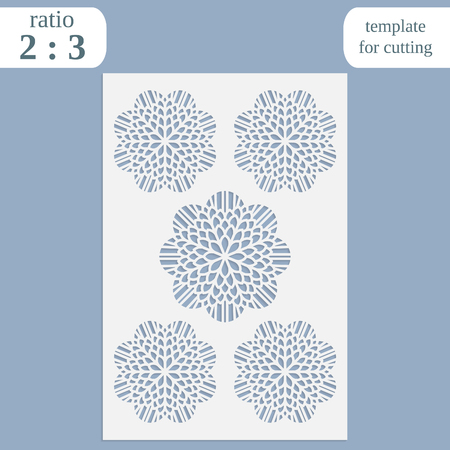 pasteboard: Paper openwork greeting card, template for cutting, lace invitation, lasercut metal panel, wood carving, laser cut plastic, vector illustration