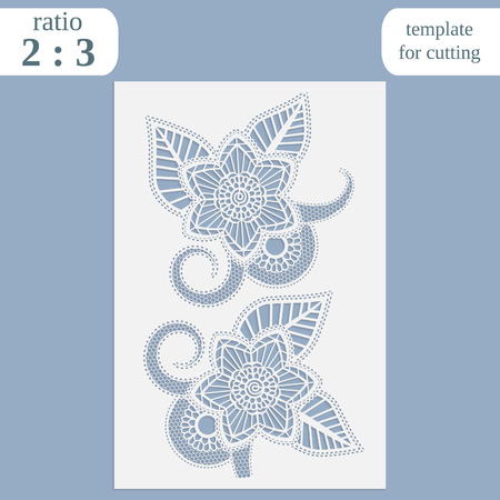 Paper openwork greeting card, template for cutting, lace invitation, lasercut metal panel, wood carving, laser cut plastic, vector illustration Vetores
