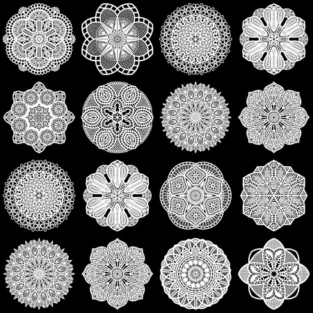 Large  set of design elements, lace round paper doily, doily to decorate the cake, template for cutting, greeting element,  snowflake, laser cut;  vector illustrations