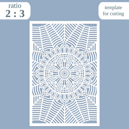 wood carving: Paper openwork greeting card, template for cutting, lace invitation, lasercut metal panel, wood carving, laser cut plastic, vector illustration