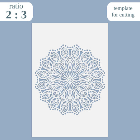 Paper openwork greeting card, template for cutting, lace invitation, lasercut metal panel, wood carving, laser cut plastic, vector illustration