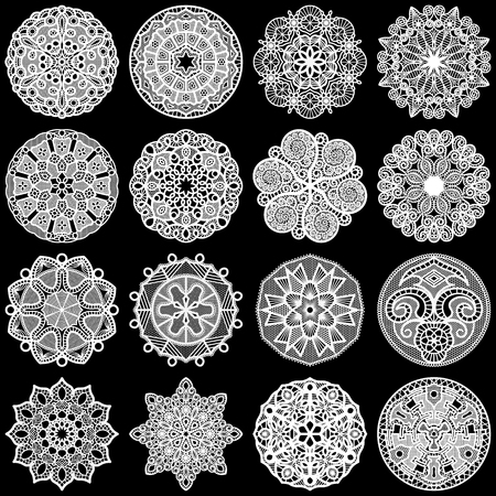 decorate element: Large  set of design elements, lace round paper doily, doily to decorate the cake, template for cutting, greeting element,  snowflake, laser cut;  vector illustrations