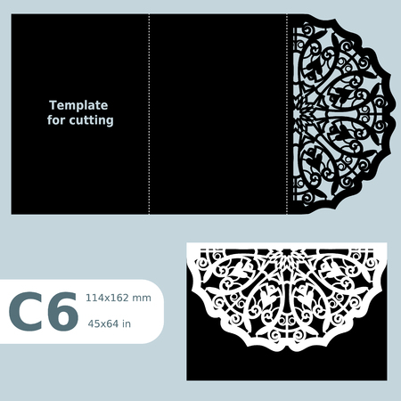 C6 paper openwork greeting card, template for cutting, lace invitation, card with fold lines, object isolated background, laser cut template, vector illustration