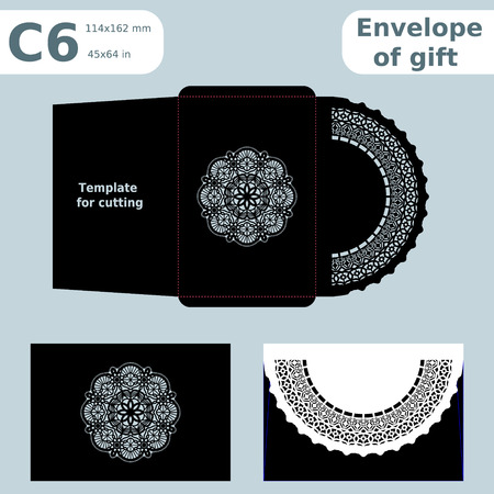 converter: C6 openwork paper converter for romantic messages, template for cutting, lace pattern, envelope greetings, laser cutting template, presents packing, vector illustrations.