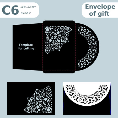 C6 openwork paper converter for romantic messages,template  for cutting, lace pattern, envelope greetings, laser cutting template,  presents packing, vector illustrations.