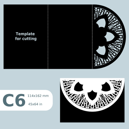 cutting sticker: C6 paper openwork greeting card, template for cutting, lace invitation, card with fold lines, object isolated background, laser cut template, vector illustration