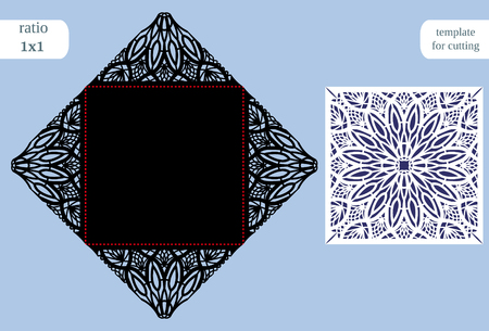 pasteboard: Paper openwork  square  greeting card, wedding congratulation, template for cutting, lace imitation, cut on plotter