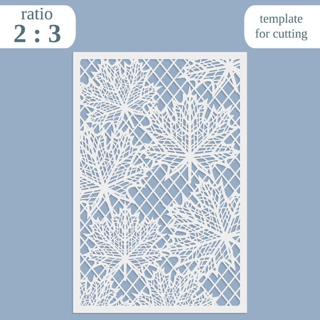 perforation: Paper openwork greeting card, template for cutting, maple leaves,  lace invitation, lasercut metal panel, wood carving Illustration