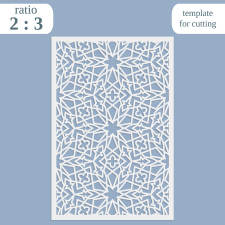 pasteboard: Paper openwork greeting card, template for cutting, lace invitation, lasercut metal panel, wood carving Illustration