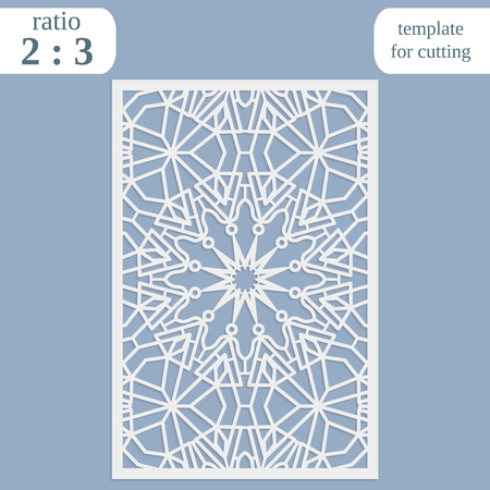 wood carving: Paper openwork greeting card, template for cutting, lace invitation, lasercut metal panel, wood carving, symmetrical ornament