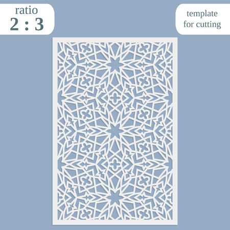 Paper openwork greeting card, template for cutting, lace invitation, lasercut metal panel, wood carving Illustration