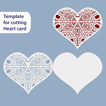 pasteboard: Paper openwork  wedding card, heart shape,  greeting postcard, template for cutting, lace imitation Illustration