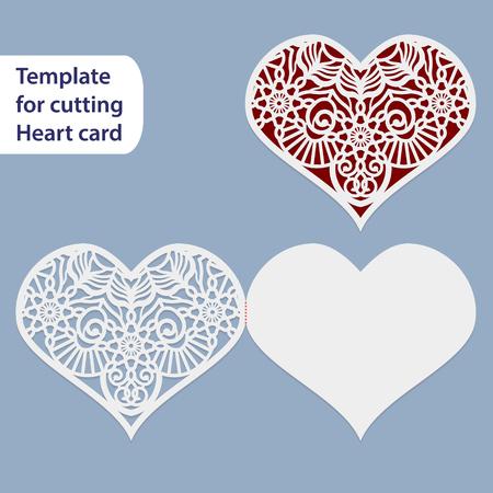 紙透かし結婚式カード、ハート、ポストカード、切削、レースの模倣、バレンタインの日、ラブレター、曲線プロッターでは、ギフト用のテンプレ