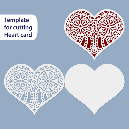 cutting sticker: Paper openwork  wedding card, heart shape,  greeting postcard, template for cutting, lace imitation,  gift on Valentines Day, love letter,  curve plotter,   vector illustration