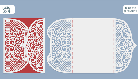 plotter: Laser cut wedding invitation card template vector.  Cut out the paper card with lace pattern.  Greeting card template for cutting plotter.