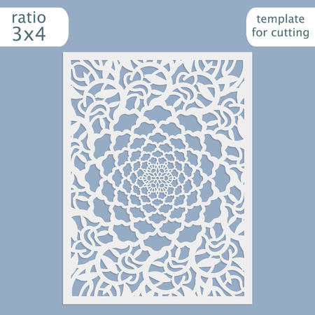 Laser cut wedding invitation card template vector.  Cut out the paper card with lace pattern.  Greeting card template for cutting plotter. Silhouette with flower pattern. Ilustrace
