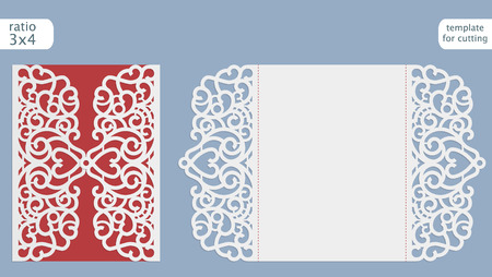 Laser couper invitation de mariage modèle de carte vectorielle. Découpez la carte papier avec motif de dentelle. Salutation modèle de carte pour traceur de découpe.