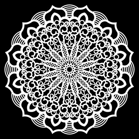 plotter: Lace round paper doily, lacy snowflake, greeting element,  template for cutting  plotter, round pattern, laser cut  template, doily to decorate the cake,  vector illustrations. Illustration