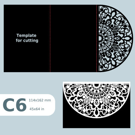C6 paper openwork greeting card,  wedding invitation, template for cutting, lace invitation, card with fold lines, object isolated background, laser cut template, vector illustration