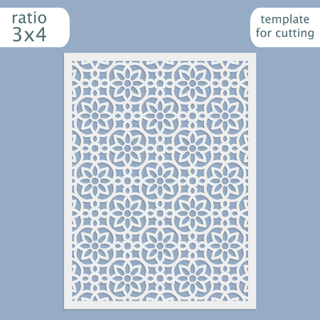to cut out: Laser cut wedding invitation card template.  Cut out the paper card with lace pattern.  Greeting card template for cutting plotter. Vector. Illustration