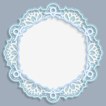 3D round frame, vignette with ornaments, lace frame,  bas-relief ornament,  festive pattern, openwork  pattern, template greetings, vector