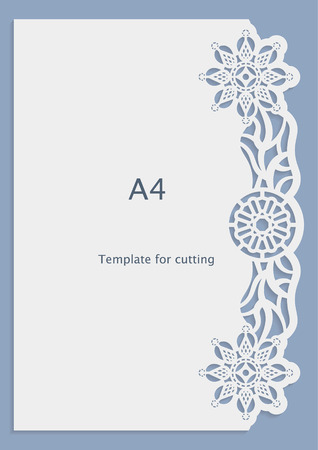 perforation: A4 paper lace greeting card, wedding invitation, white pattern, cut-out template,  template congratulation, perforation pattern, laser cutting template,  vector