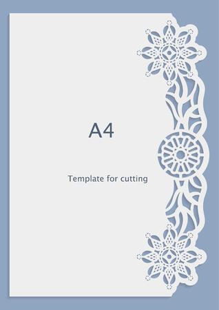 A4 papier dentelle carte de voeux, invitation de mariage, motif blanc, modèle découpé, modèle congratulation, motif de perforation, gabarit de découpe laser, vecteur