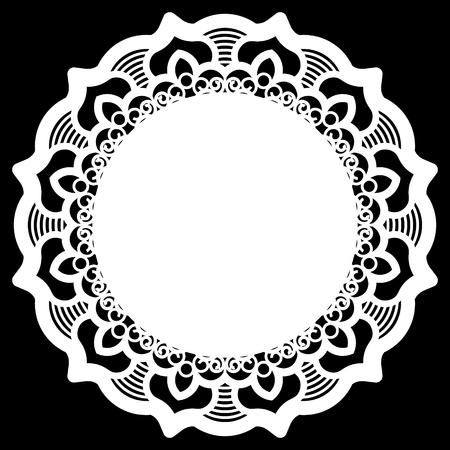 Dentelle de papier ronde napperon, flocon de dentelle, élément de salutation, modèle pour traceur de découpe, modèle rond, laser gabarit de découpe, napperon pour décorer les gâteaux, des illustrations vectorielles.