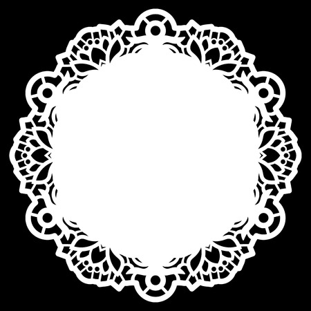 decorate: Lace round paper doily, lacy snowflake, greeting element,  template for cutting  plotter, round pattern, laser cut  template, doily to decorate the cake,  vector illustrations. Illustration