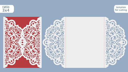 cutting sticker: Laser cut wedding invitation card template.  Cut out the paper card with lace pattern.  Greeting card template for cutting plotter. Vector. Illustration