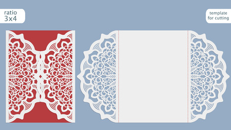 Laser cut wedding invitation card template.  Cut out the paper card with lace pattern.  Greeting card template for cutting plotter. Illustration