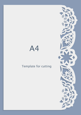 perforation: A4 paper lace greeting card, wedding invitation, white pattern, cut-out template,  template congratulation, perforation pattern, laser cutting template