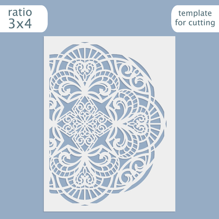 plotter: Laser cut wedding invitation card template.  Cut out the paper card with lace pattern.  Greeting card template for cutting plotter. Illustration