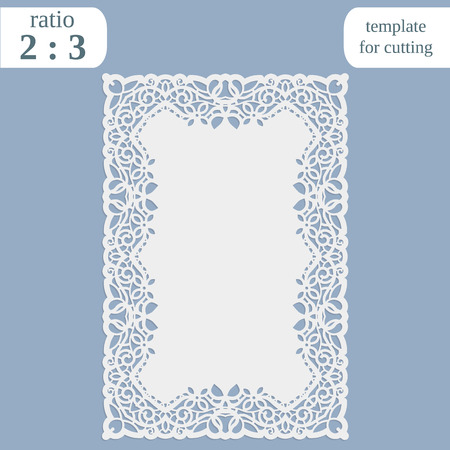 Greeting card with openwork border, rectangular paper doily, template for cutting, wedding invitation, decorative plate is laser cut, frame with lace edge, illustrations.